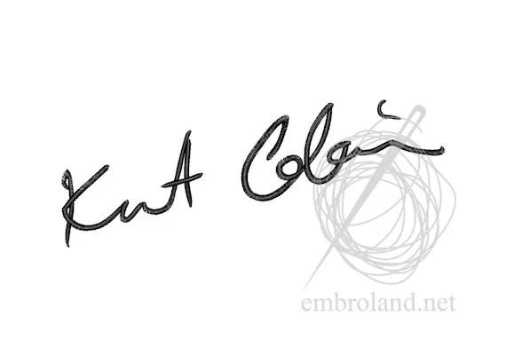 Kurt Cobain Signature Autograph Machine Embroidery Design