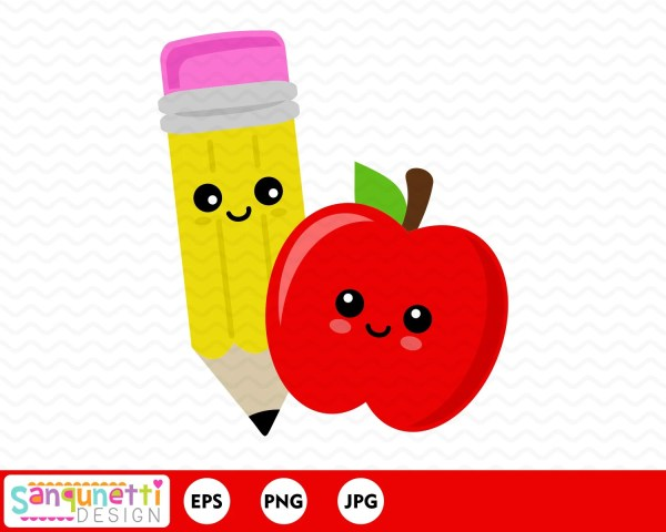 apple and pencil clipart