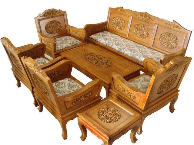 teak living room furniture colors with beige carved wood beautiful country etsy set flowers details 2 inches of thicknesses