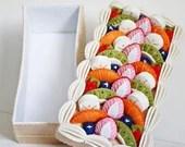 decorative felt box, fake fruit cake