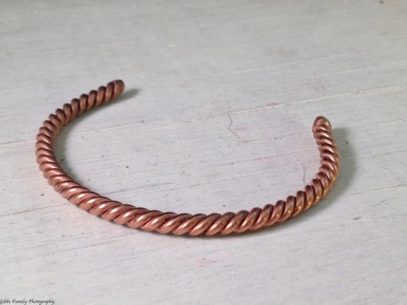 A Thin Copper Twisted Tork Handmade Bracelet