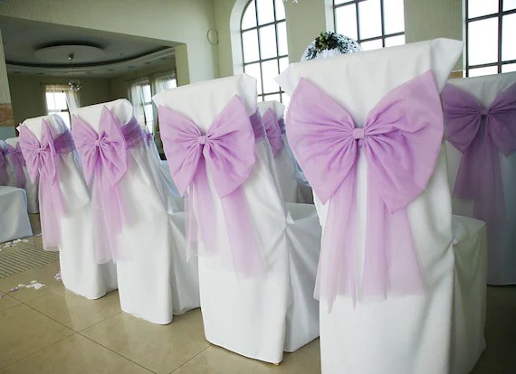 wedding chair sash wheelchair market decorative lilac tull ribbon set of etsy image 0
