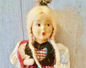 Vintage Baitz Girl Doll with Braids/ Austrian Costume doll/ All Handmade