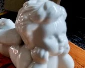 "White 6"" Porcelain Angel Cherub Statue / Figurines Garden/ House Home Decor Winged Angel Baby /Porcelain"