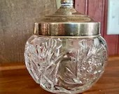 Vintage 1940's Condiment Jar with Lid and Spoon, Cut Glass, Jam, Mustard, Jelly, Honey, Silver Plated