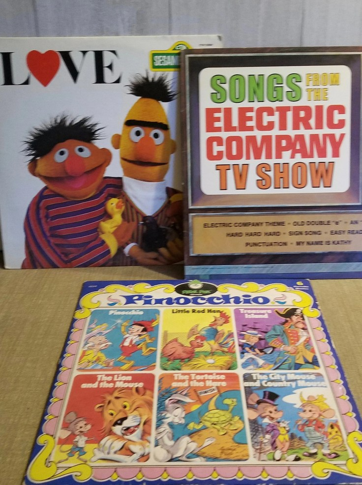 3 Vintage 1980 Vinyl LP Kids Records/ Sesame Love/Songs from the Electric Company TV Show/Pinocchio Peter Pan Records