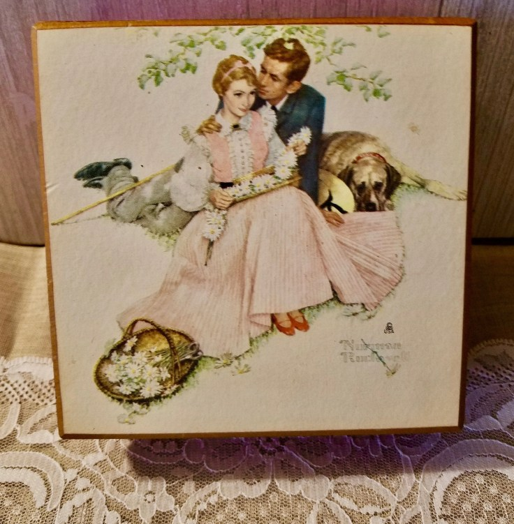 Schmid Wooden Music Jewelry Box With Norman Rockwell Picture/ Theme From Love Story/ Romantic Gift
