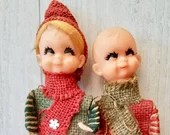 Vintage Rubber Face Elf Dolls/ Very Rare/Made With Twine/ Painted Face/ Vintage Doll