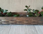 Vintage Wooden Gathering Basket/ Primitive/ Hand Woven Garden Vegetable Harvest Egg Farmhouse Berry Basket/ Vintage Basket