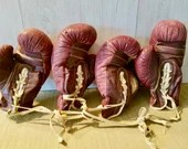Set of 4 Red Boxing Gloves/ Vintage/ Burgundy Geo Reach Co Gloves / Leather Boxing Gloves/ Man cave Decor/ Gift for Boxer