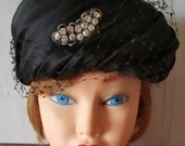 Vintage Black Hat / 1960's/ Ladies Bonnet With Rhinestones / Cloche Hat / Hat with Veil/ Formal Ladies Hat