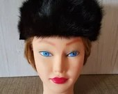 Vintage Black Mink Hat by Styled by Ronee / 1930's / Built in Hair Clips