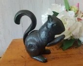 Antique Cast Iron Squirrel Nutcracker / Black Squirrel / Door Stopper