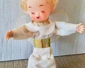 Antique Vintage Blonde Angel in White and Gold Foil Dress / Gold Wings/  Made in Japan Christmas Ornament