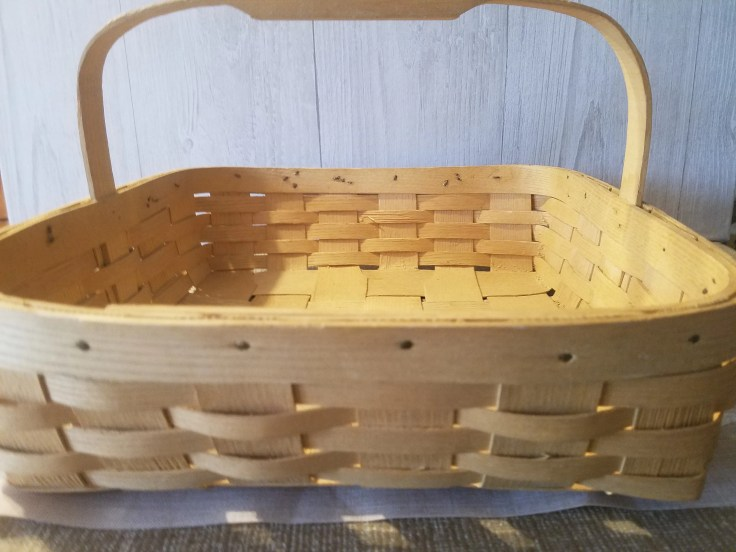 "Large woven basket,handmade ,light brown basket,13""x12 1/2""x8"",kitchen storage, thick wood handle,"