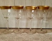 "Vintage Wine Glass Set of 4 with 1/2"" wide Embossed Rose Gold Band / Scrollwork Etching Roses on Vines"
