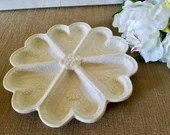 Porcelain Divided Section Serving Plate/ 6 Sections/ Floral Cream