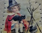 Vintage Black Framed Hand Sewn Happy Halloween Art/ Halloween Decor/ Picture Frame