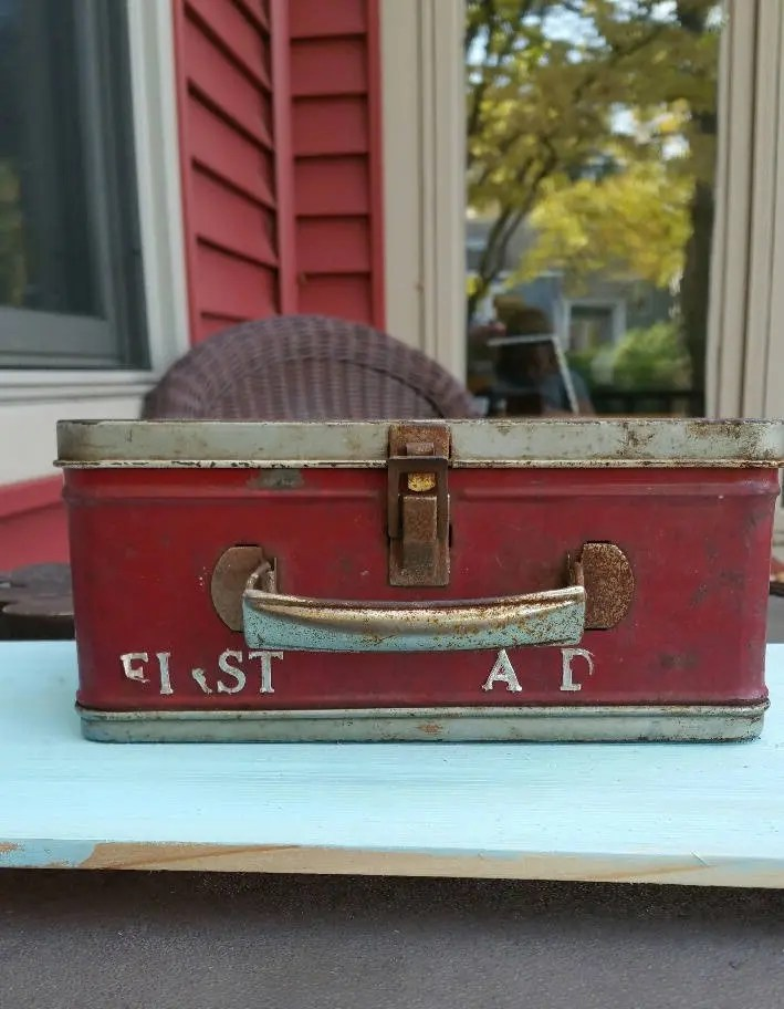 Vintage Metal First Aid Box / American Thermos Bottle Co. / Industrial First Aid Box, Medical Box/ Rustic Box