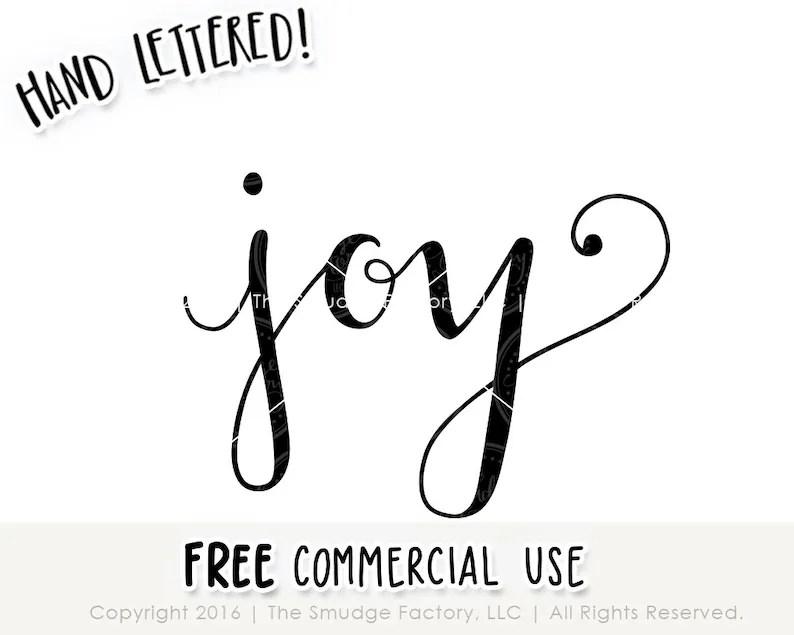 Download Joy SVG Cut File Hand Lettered Silhouette Cricut | Etsy