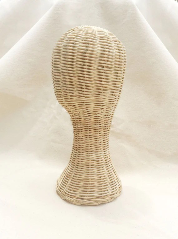 mannequin chair stand oversized circle hand made head rattan wig hat display etsy 50
