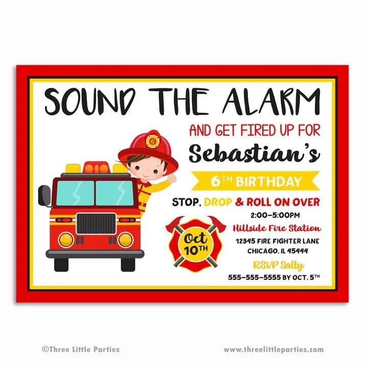 Another idea is to pass out fire hats to the kids for use during the activity. Firefighter Invitation Fire Truck Birthday Invitation Etsy