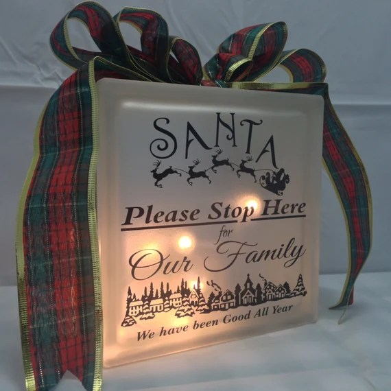 Christmas Santa please Stop Illuminated LED Glass Block