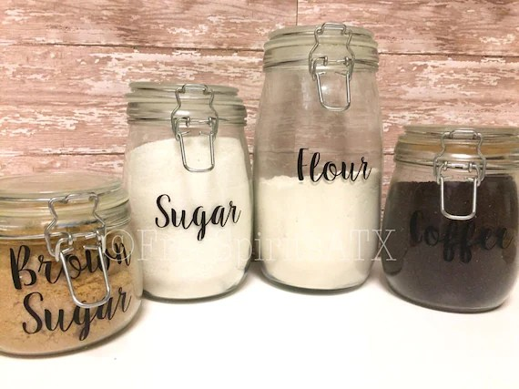 canisters kitchen ideas for cabinets canister labels decals etsy image 0