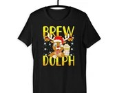 Brewdolph The Beer Drinking Reindeer Funny Christmas Gift T-Shirt