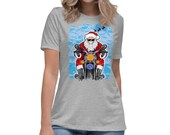 Cool Christmas Motorcycle Santa Funny Biker Women's Relaxed T-Shirt