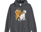 Cool Tattoo Dog Giving a Dalmatian His Spots Funny Tattoo Design Unisex Hoodie