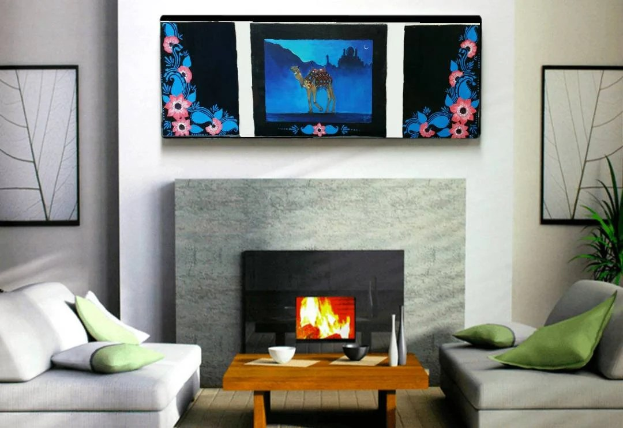arabian nights living room floor tiles design for original blue painting wall decor abstract art etsy image 0