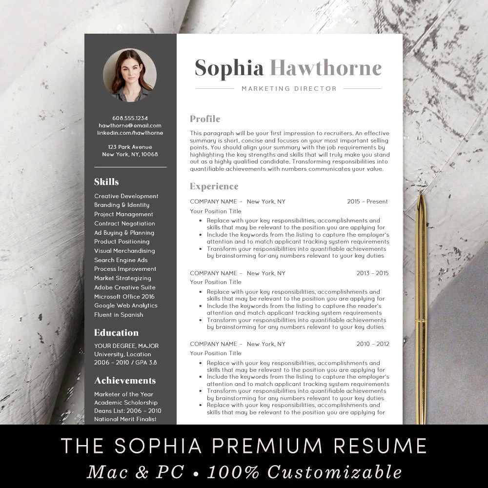 Modern Resume Template Download Professional Resume Template With Photo Modern Cv Word Mac Pages Free Cover Letter Teacher Instant Download The Sophia