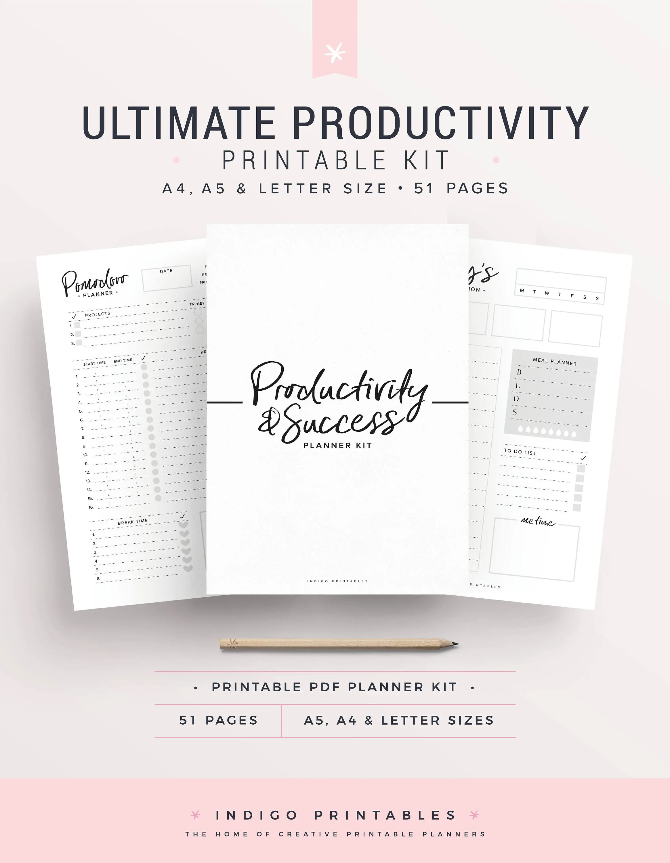 Productivity Planner Goal Planner Success Printable