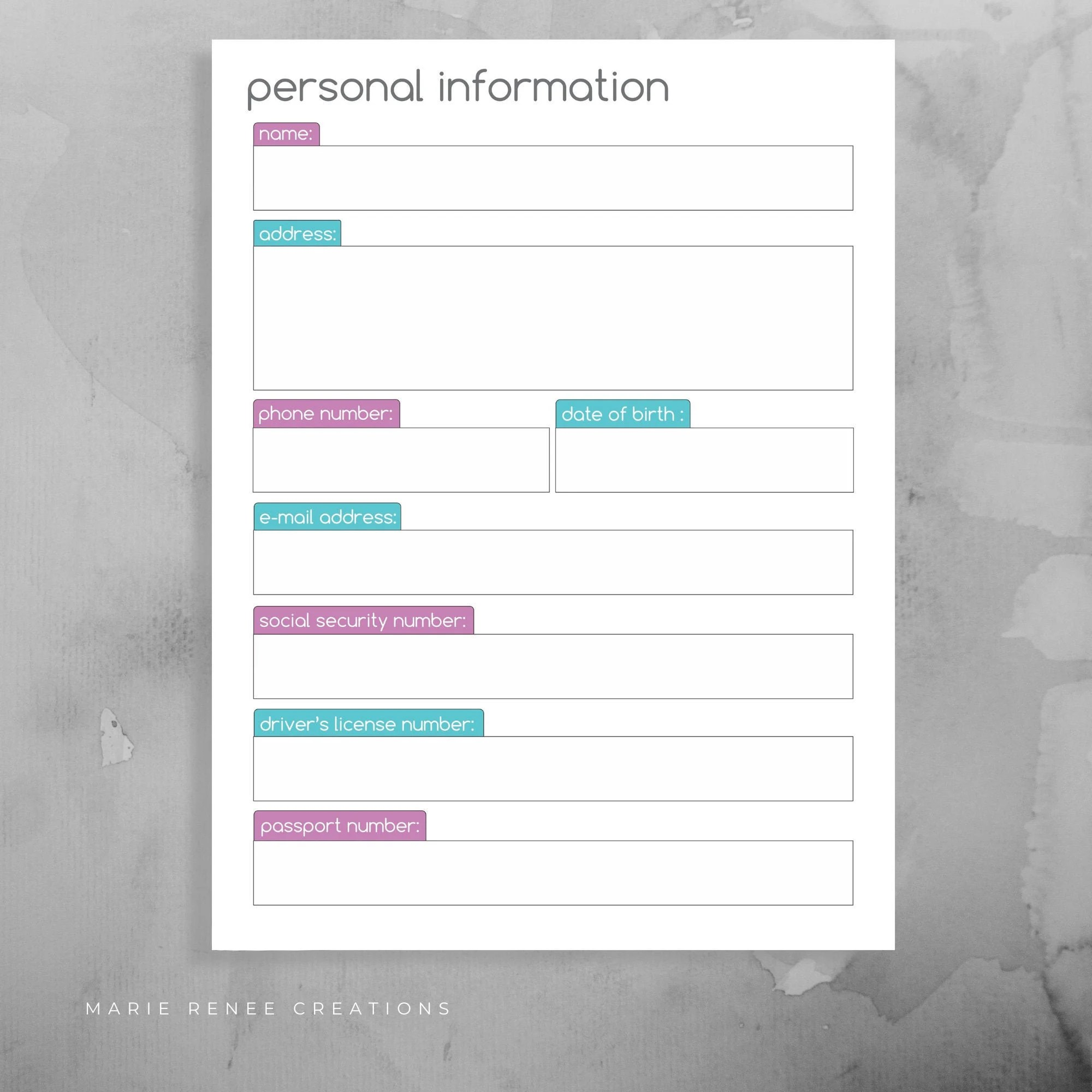 Personal Information Worksheet Info Form Printable