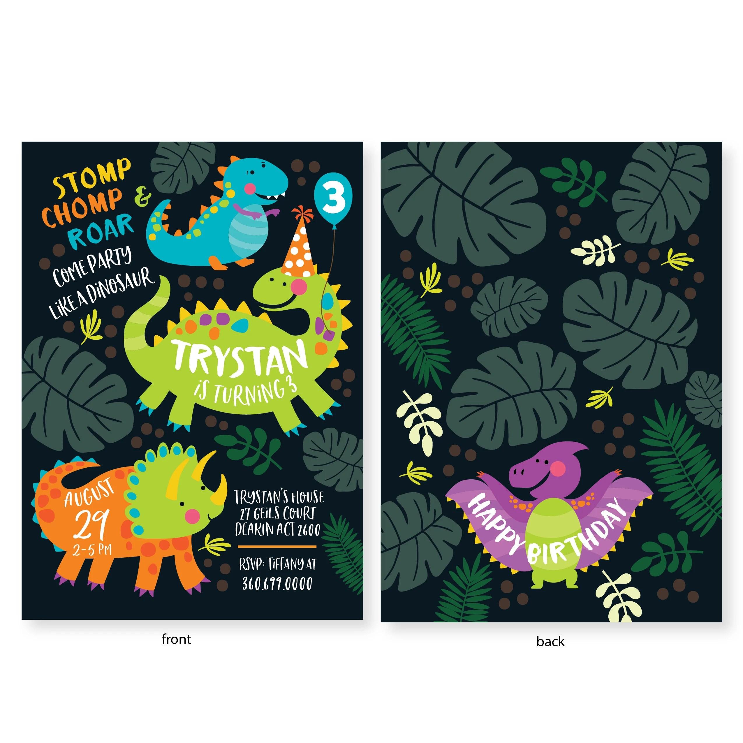 dinosaur birthday invitation boys