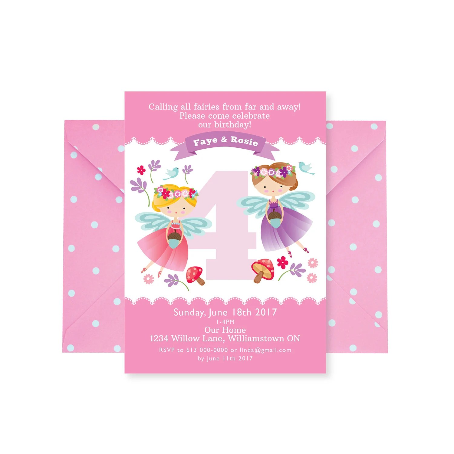 twins fairy birthday invitation twins