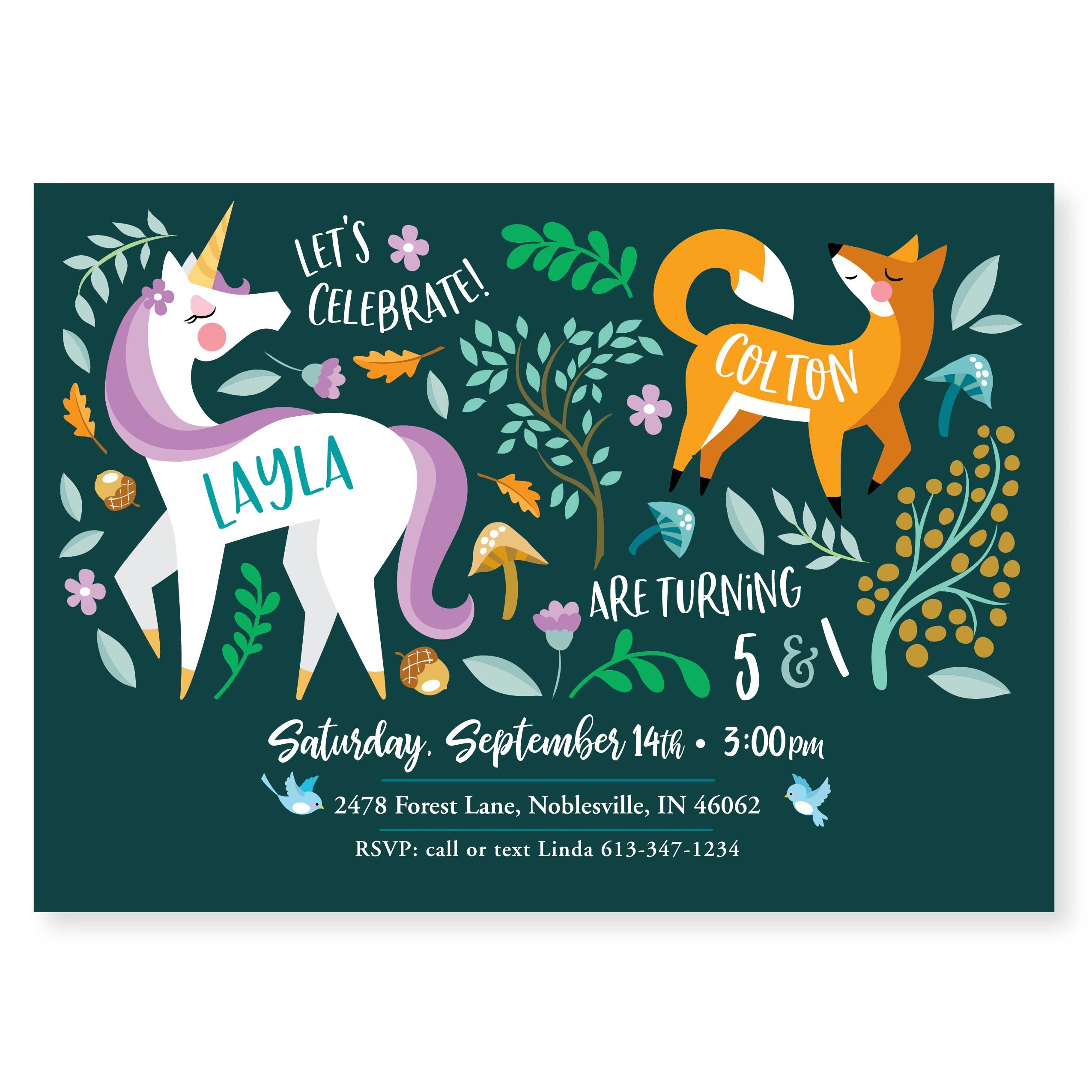 unicorn fox double birthday party