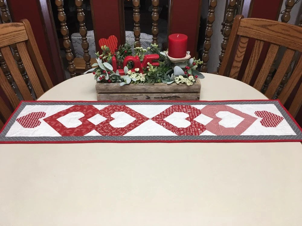 sofa table runners dorel asia microfiber sectional grey valentine runner decor red and etsy image 0