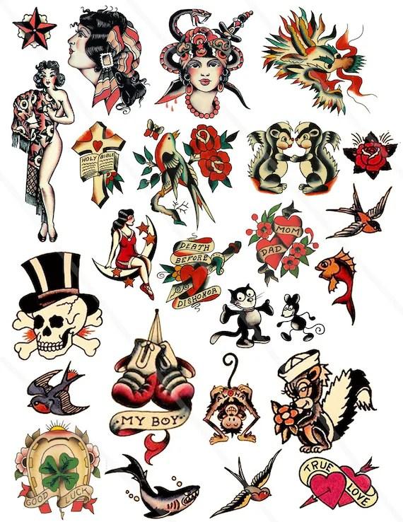 Digital Collage Sheet retro tattoo clipart PNG JPEG vintage | Etsy
