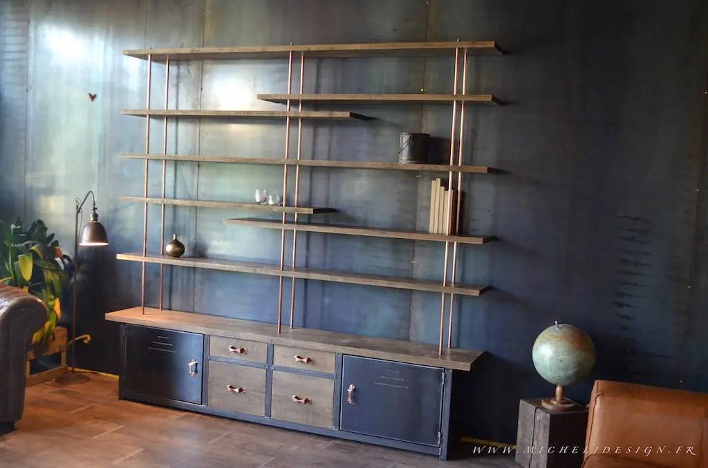 bibliotheque contemporaine sur mesure bois metal