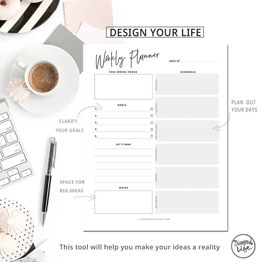 WEEKLY PLANNER Template A4 Size Printable pdf. A4 weekly
