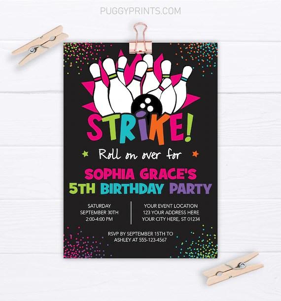 bowling birthday invitation editable