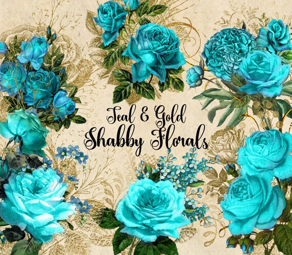 teal and gold shabby floral clip