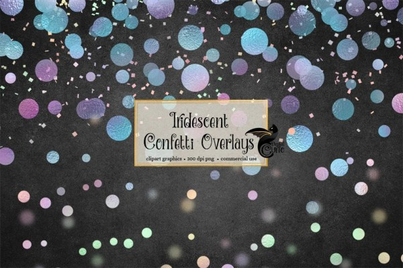 iridescent confetti overlays clipart