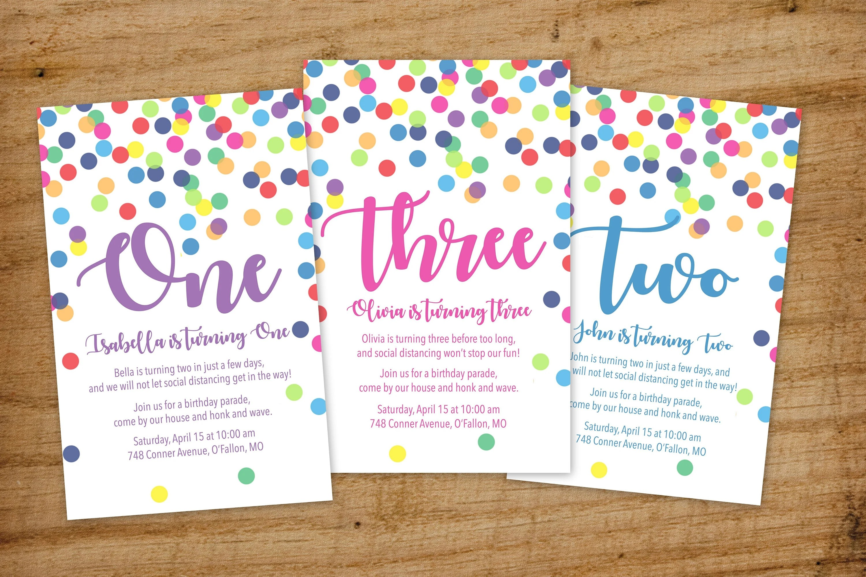 quarantine birthday party invitation drive by social distancing parade confetti 1st 2nd 3rd 4th 5th 6th 7th birthday invite