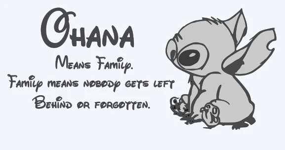 Ohana means family. Family means nobody gets left behind