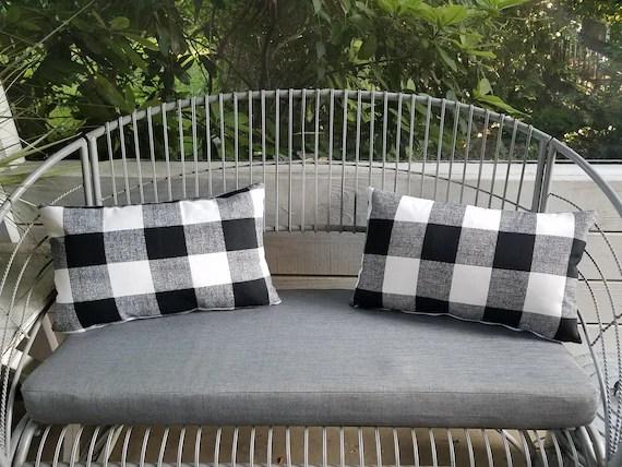buffalo check plaid black white outdoor lumbar pillows rectangle farmhouse style decor pillow rustic gingham porch rockers chairs checked