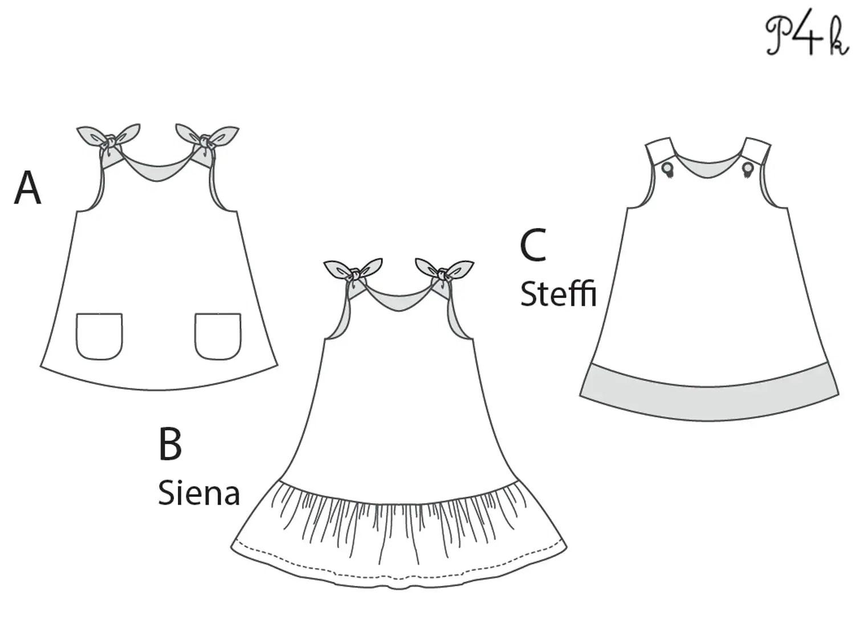 Baby girls dress sewing pattern, tunic with hem ruffles