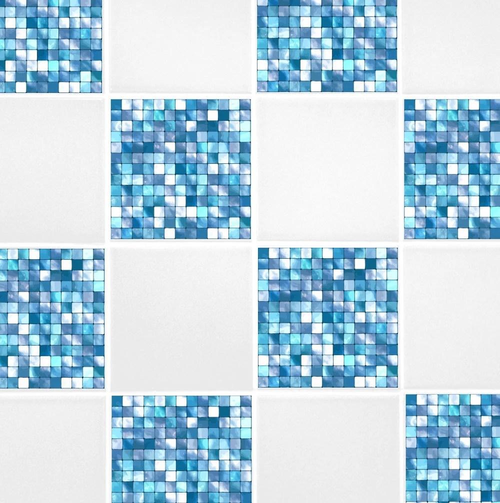 aqua blue mosaic tile transfers 6 x 6 printed etsy